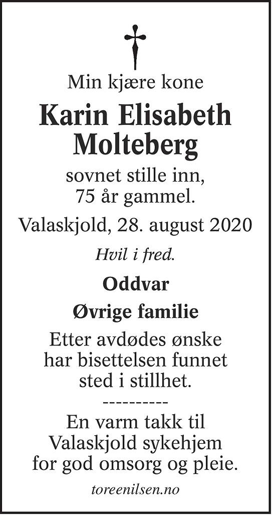 Karin Elisabeth Molteberg Dødsannonse