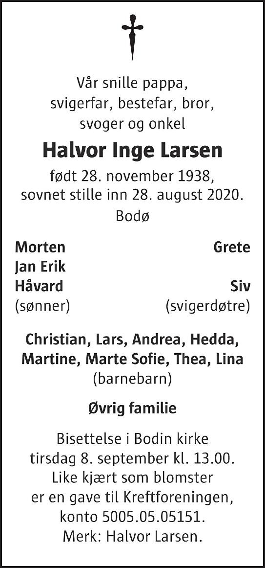 Halvor Inge Larsen Dødsannonse