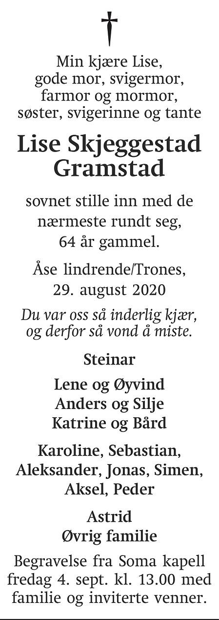 Lise Skjeggestad Gramstad Dødsannonse