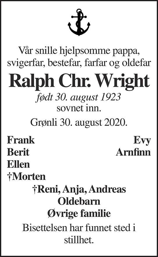 Ralph Christian Wright Dødsannonse
