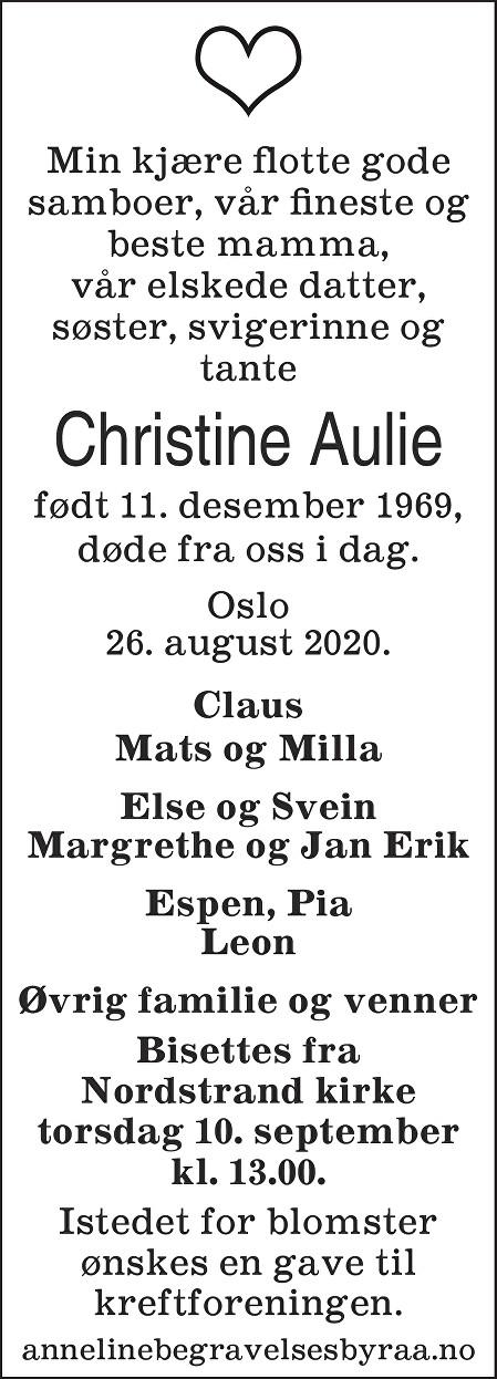 Christine Aulie Dødsannonse
