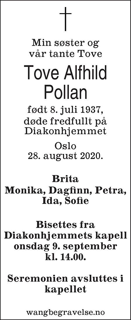 Tove Alfhild Pollan Dødsannonse