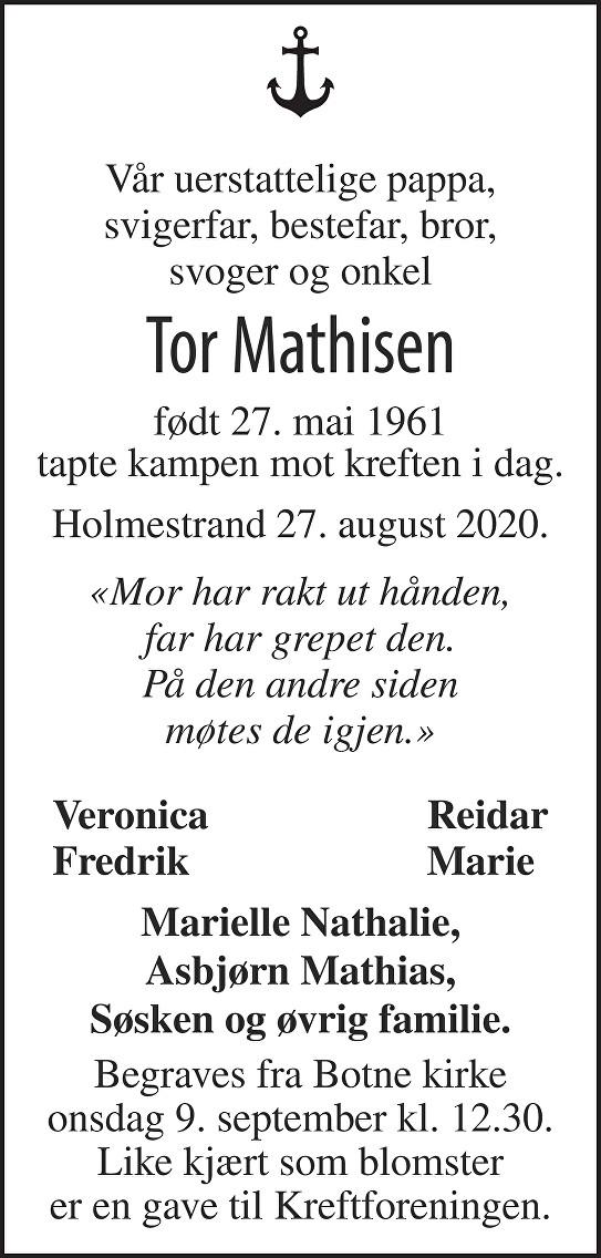 Tor Mathisen Dødsannonse