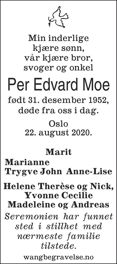 Per Edvard Moe Dødsannonse