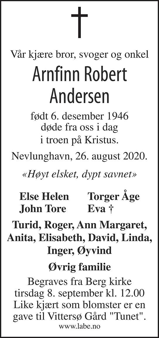 Arnfinn Robert Andersen Dødsannonse