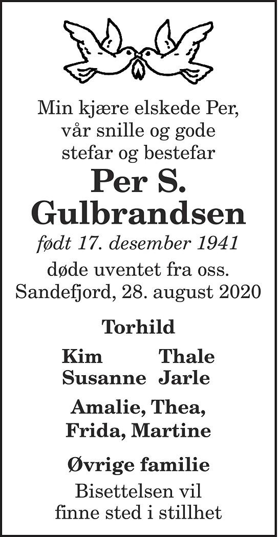 Per S. Gulbrandsen Dødsannonse