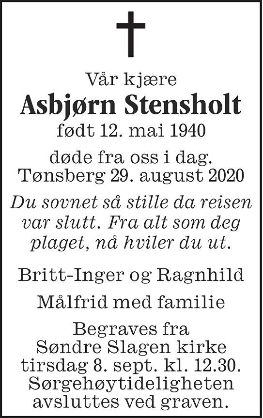 Asbjørn Stensholt Dødsannonse