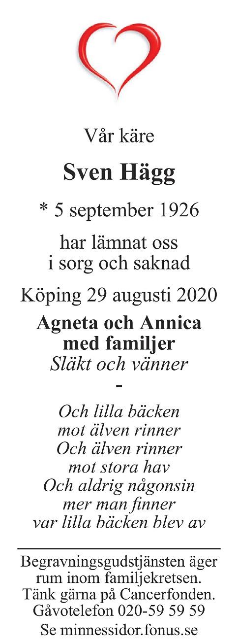 Sven Hägg Death notice