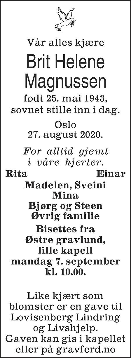 Brit Helene Magnussen Dødsannonse