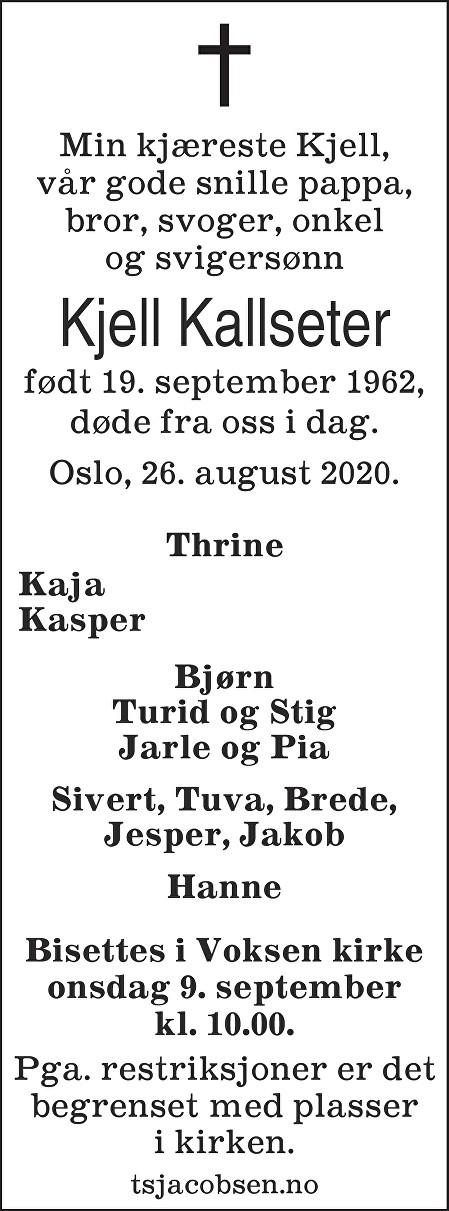 Kjell Kallseter Dødsannonse