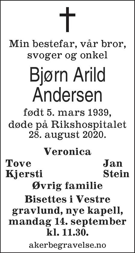 Bjørn Arild Andersen Dødsannonse