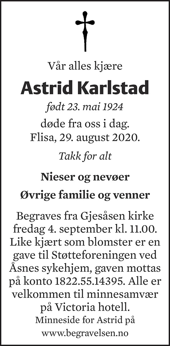 Astrid Karlstad Dødsannonse