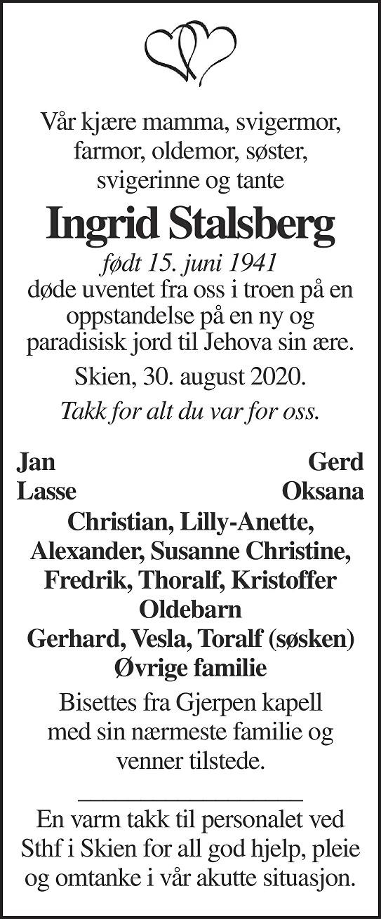 Ingrid Stalsberg Dødsannonse