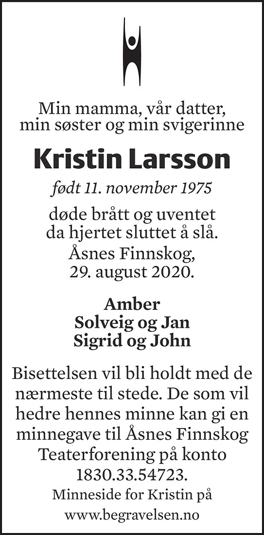 Kristin Larsson Dødsannonse