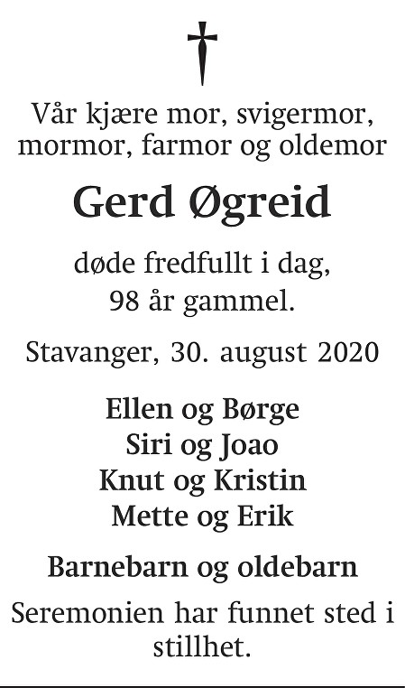 Gerd Øgreid Dødsannonse