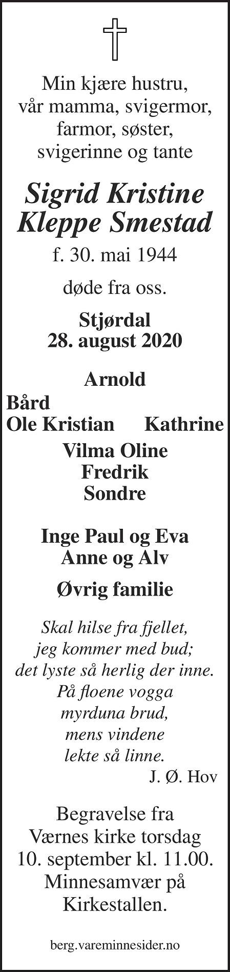 Sigrid Kristine Kleppe Smestad Dødsannonse