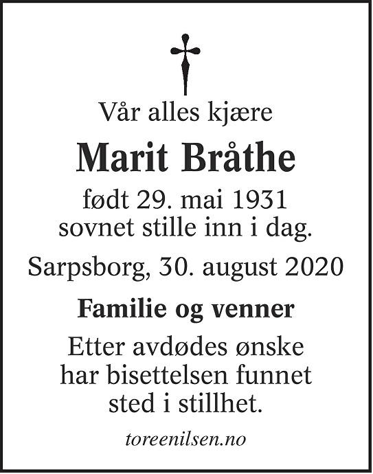 Marit Alette Bråthe Dødsannonse