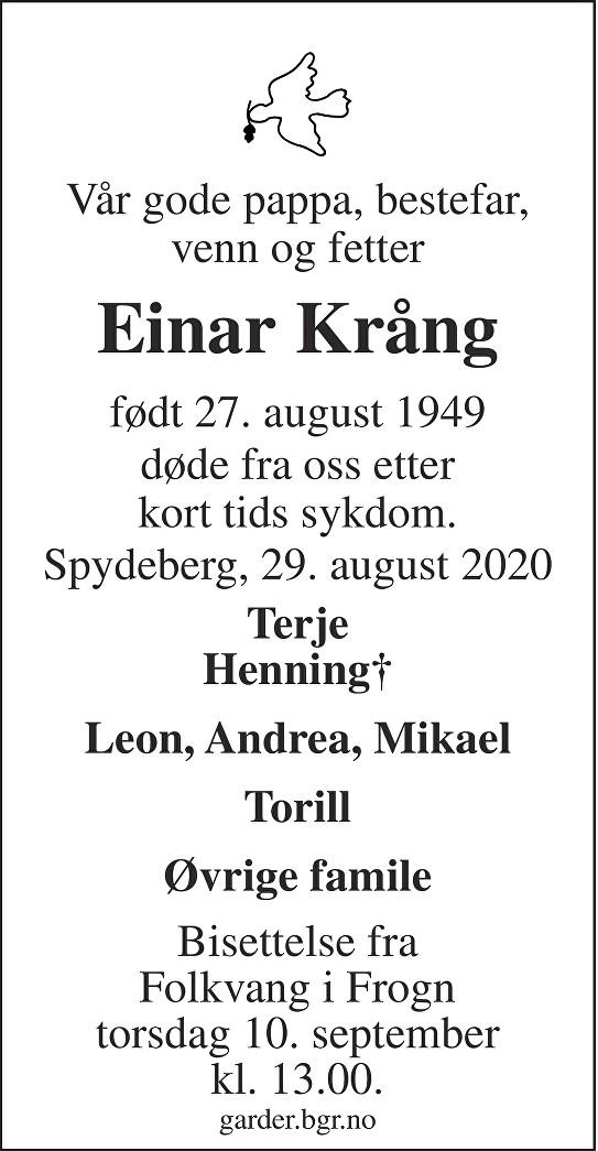 Einar Krång Dødsannonse