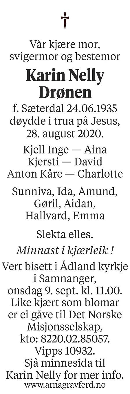Karin Nelly Drønen Dødsannonse