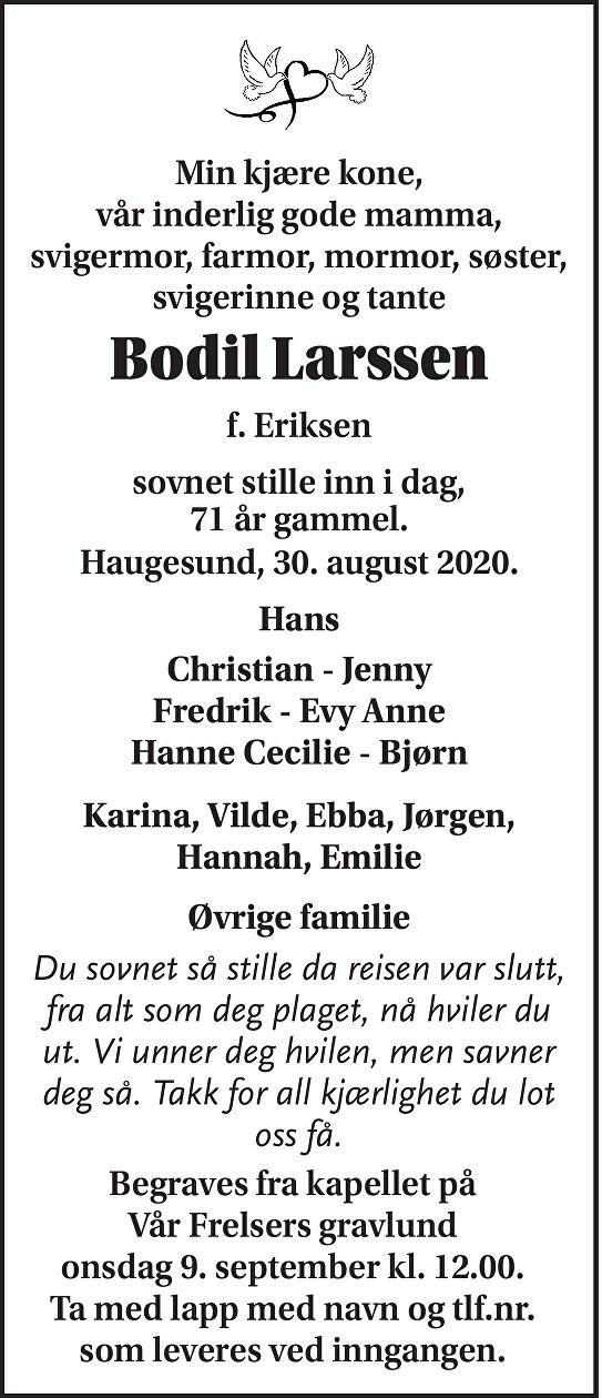 Bodil Larssen Dødsannonse