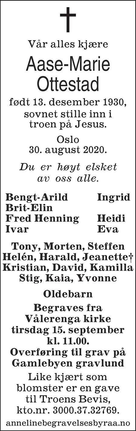 Aase Marie Ottestad Dødsannonse