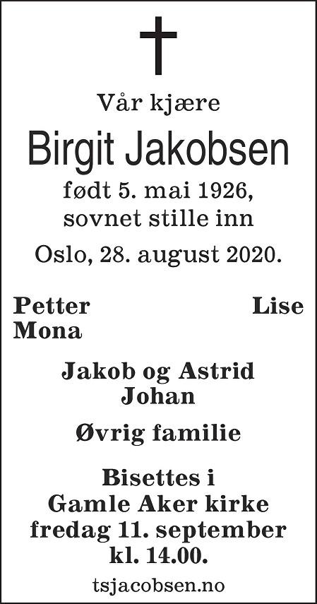 Birgit Jakobsen Dødsannonse