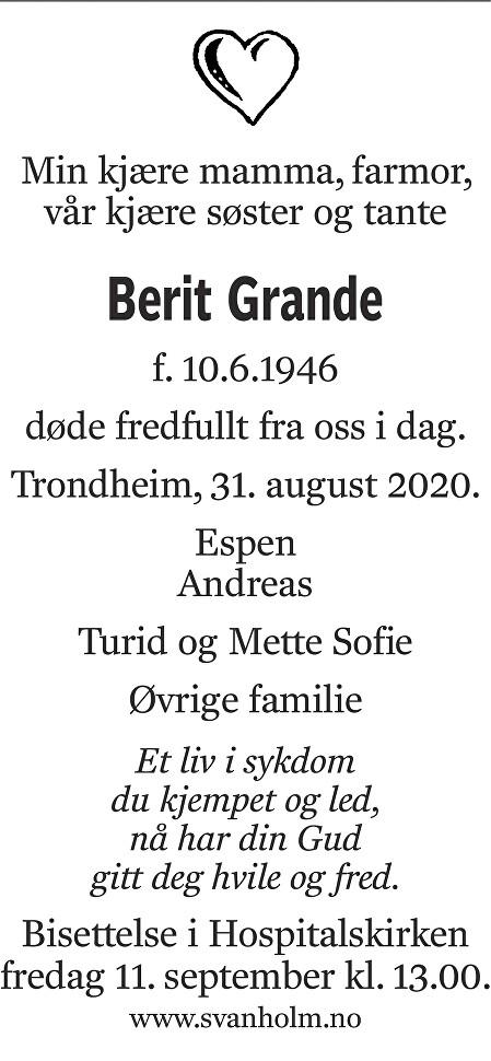 Berit Grande Dødsannonse