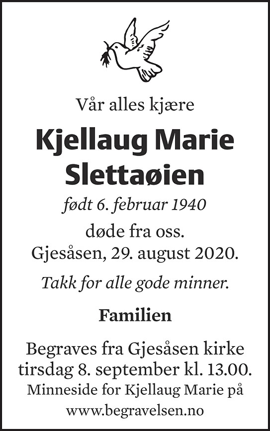 Kjellaug Marie Slettaøien Dødsannonse