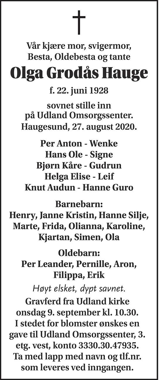 Olga Grodås Hauge Dødsannonse