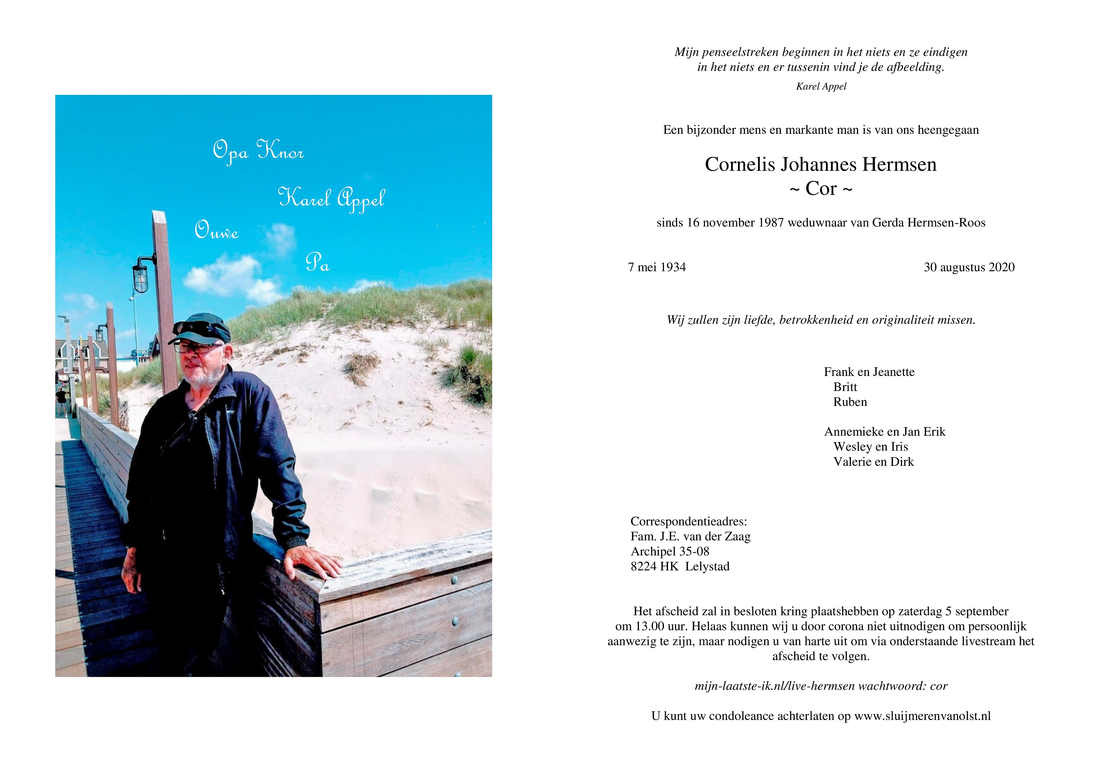 Cornelis Johannes Hermsen Death notice