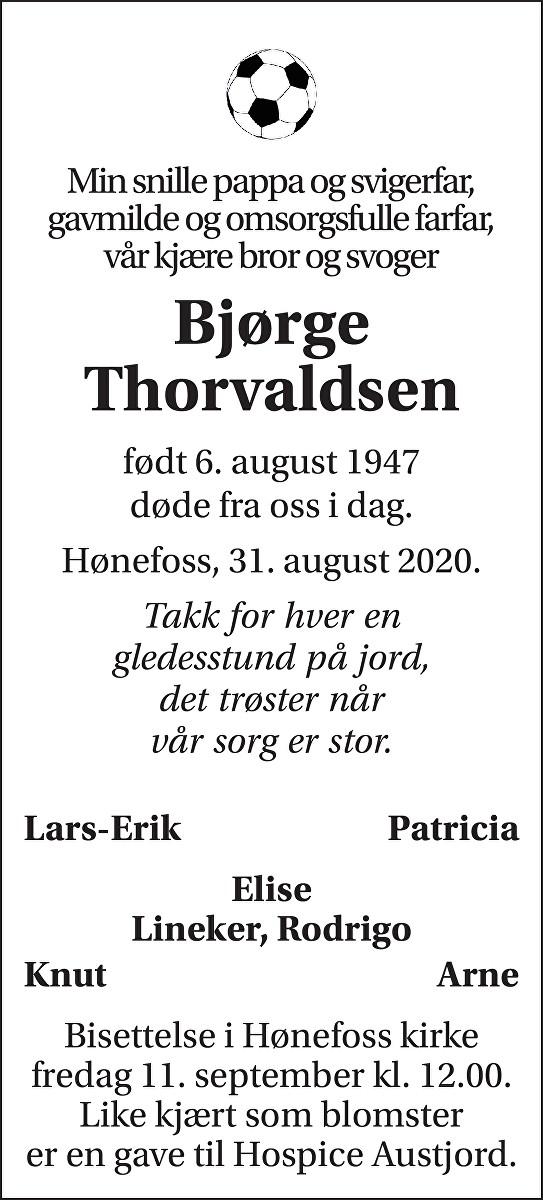 Bjørge Evald Thorvaldsen Dødsannonse