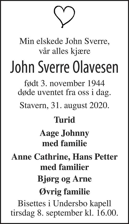 John Sverre Olavesen Dødsannonse