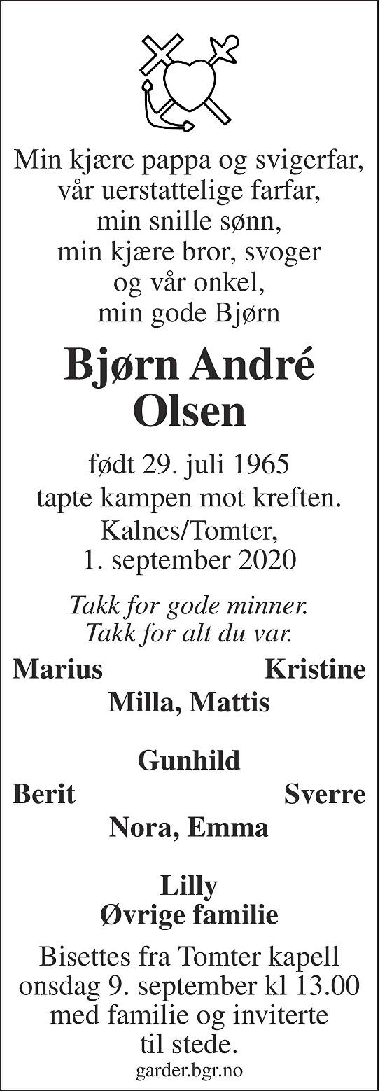 Bjørn André Olsen Dødsannonse