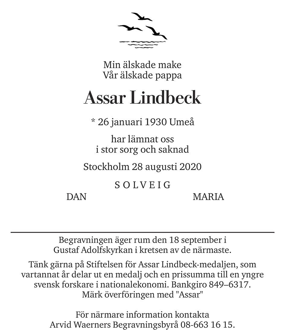 Assar Lindbeck Death notice
