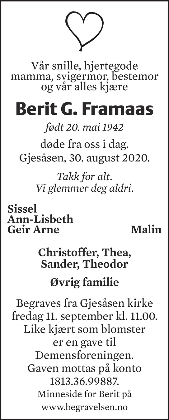 Berit Gullborg Framaas Dødsannonse
