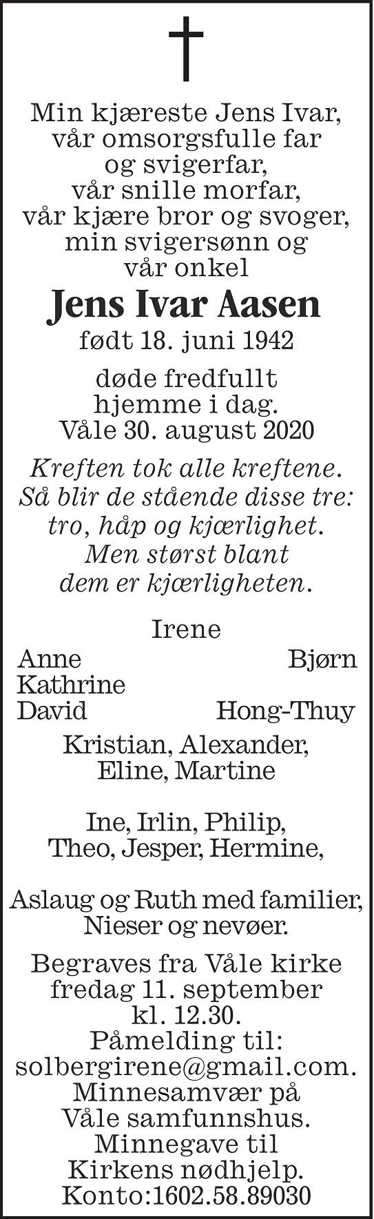 Jens Ivar Aasen Dødsannonse