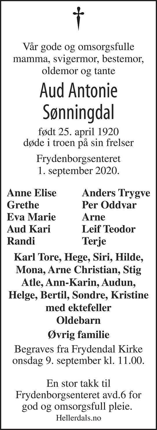 Aud Antonie Sønningdal Dødsannonse