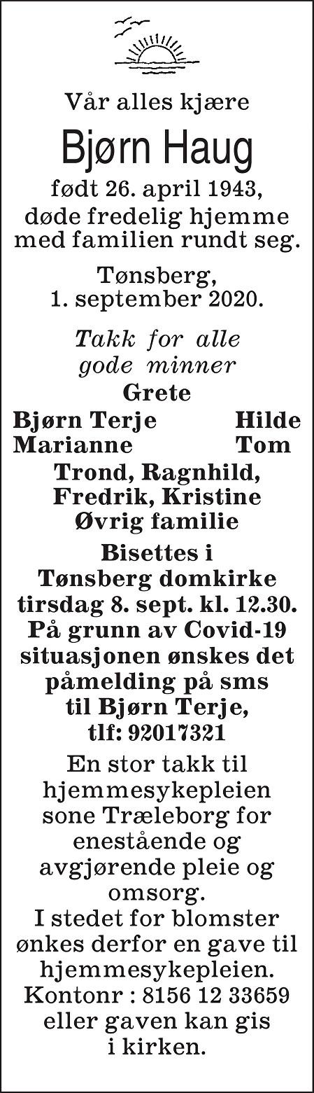 Bjørn Tore Haug Dødsannonse
