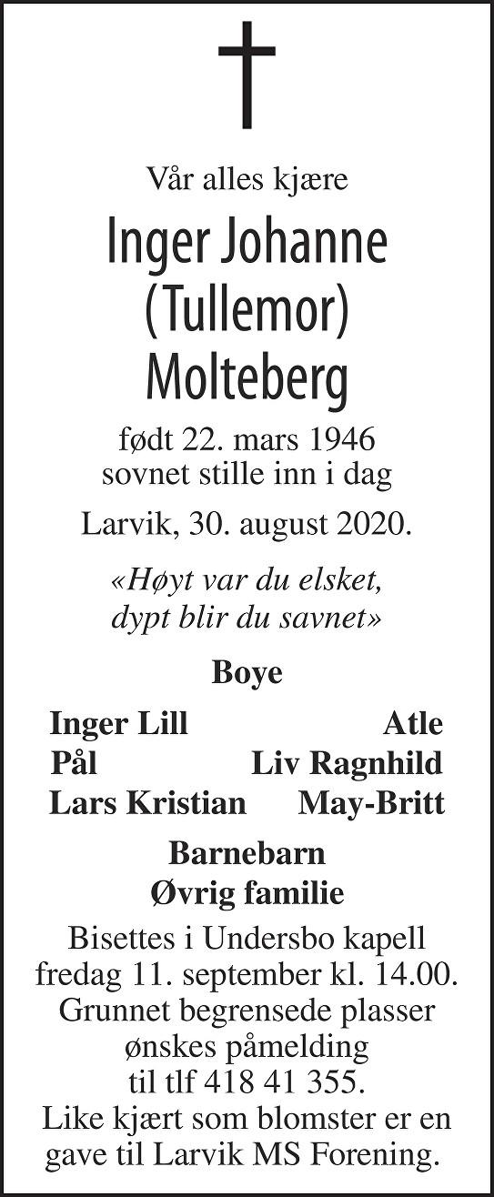 Inger Johanne Molteberg Dødsannonse