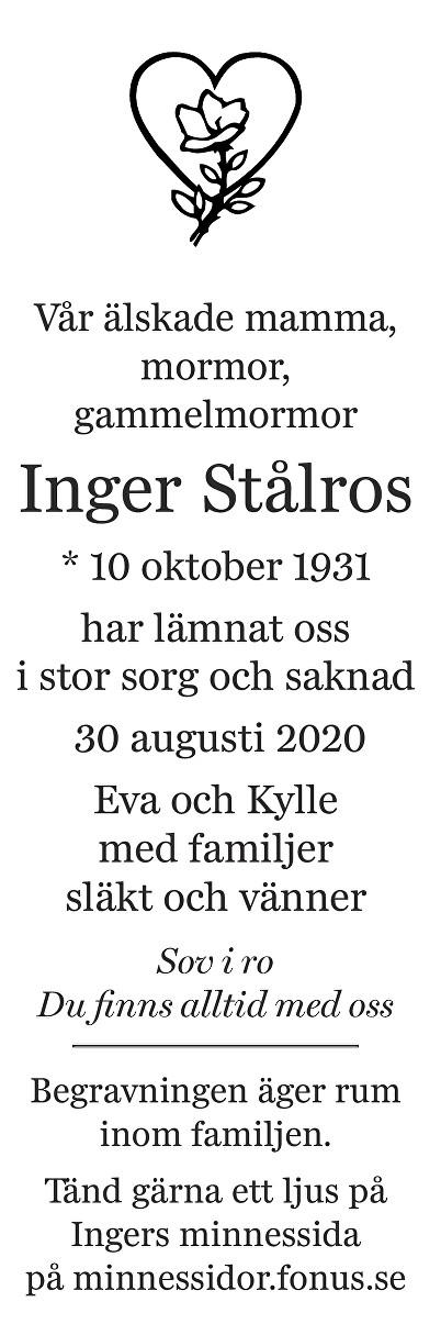 Inger Stålros Death notice