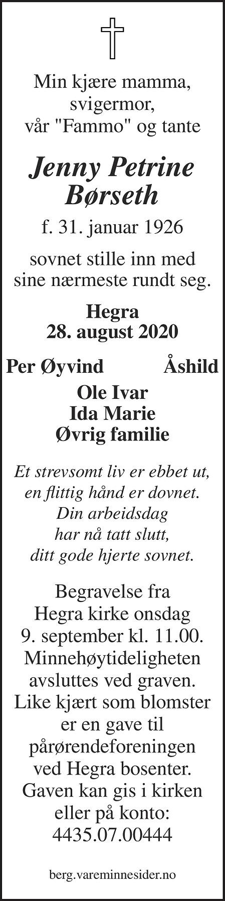 Jenny Petrine Børseth Dødsannonse