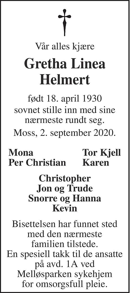 Greta Linea Helmert Dødsannonse