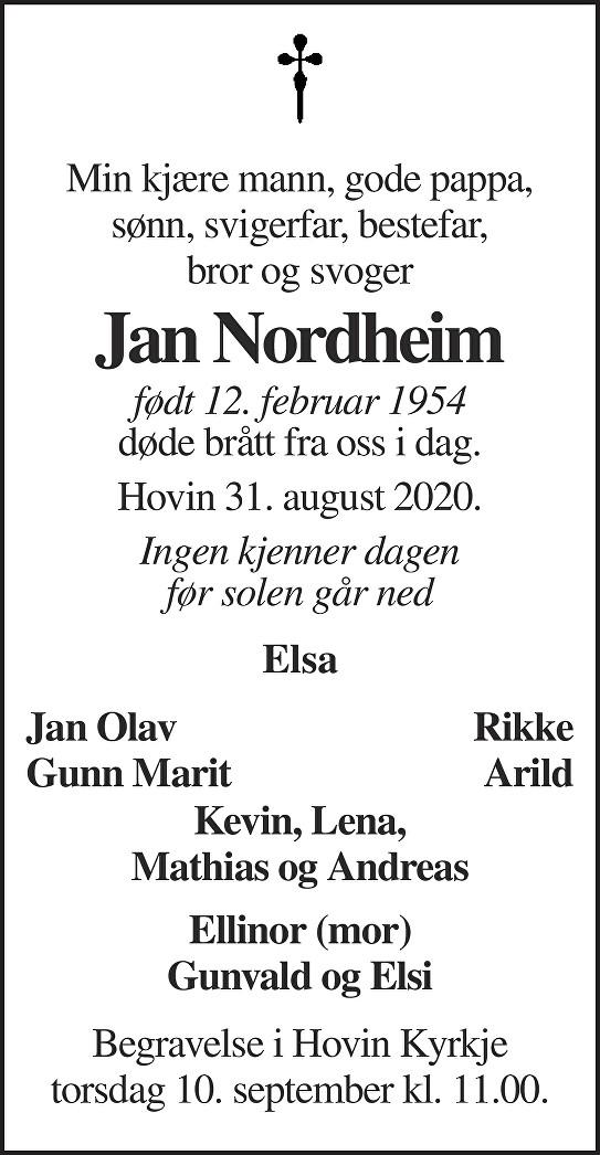 Jan Nordheim Dødsannonse
