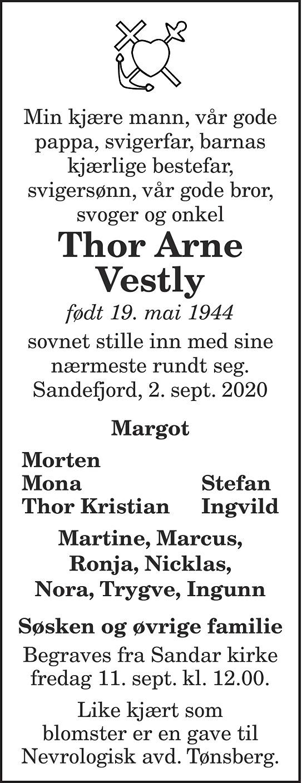 Thor Arne Vestly Dødsannonse
