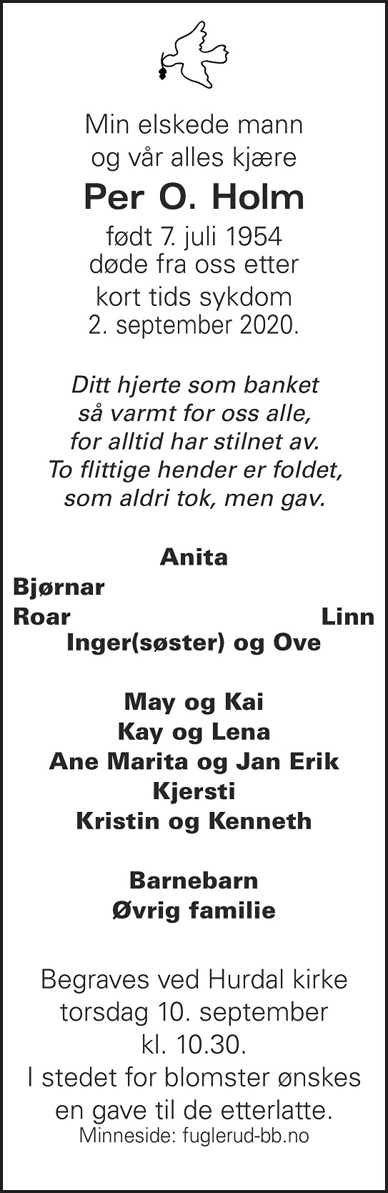 Per O. Holm Dødsannonse