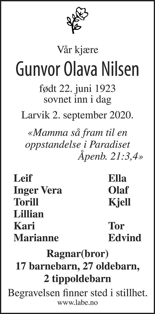 Gunvor Olava Nilsen Dødsannonse