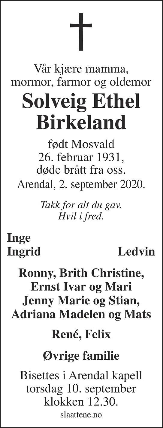 Solveig Ethel Birkeland Dødsannonse