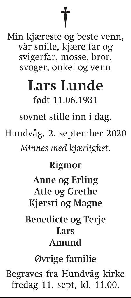 Lars Lunde Dødsannonse