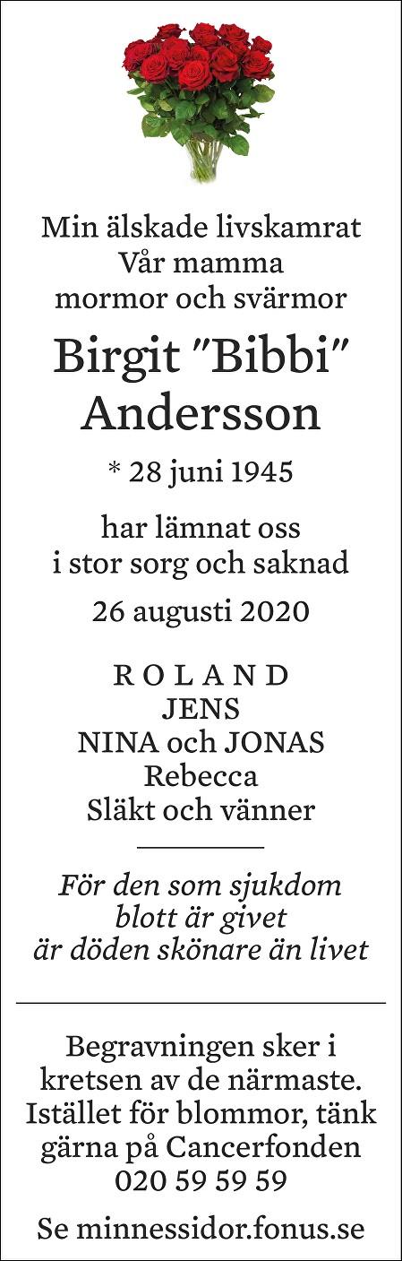 Birgit Andersson Death notice