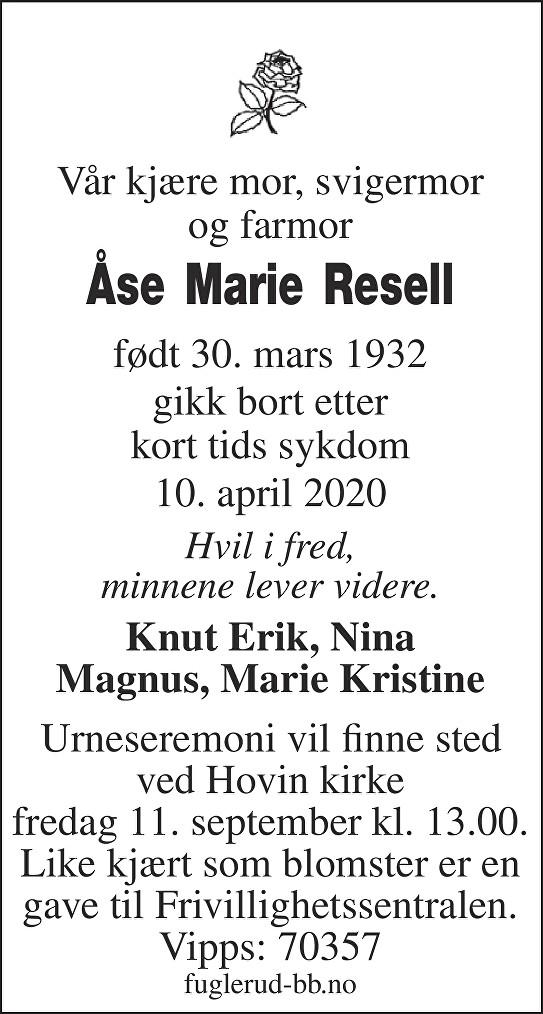 Åse Marie Resell Dødsannonse